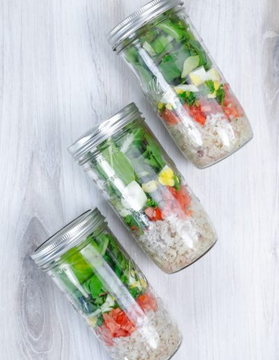 salad in a jar with egg
